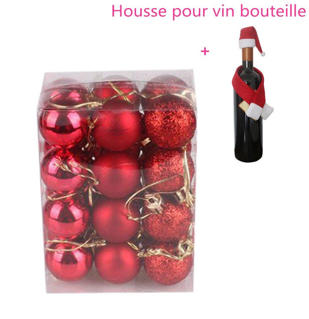 Rouge Boule de Noel Sapin de Noel Boules 3cm 24pcs Ambiance Decoration Noel