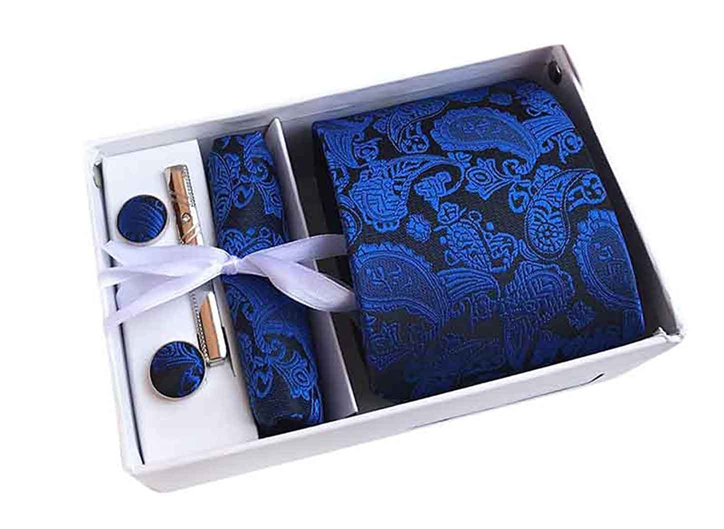 MENDENG Men's Royal Blue Paisley Necktie Tie Clip Pocket Square Cufflinks Set ENG1541