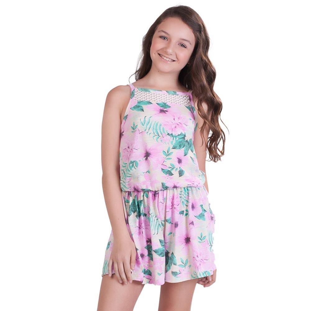 Pulla Bulla Big Girl Floral Romper Sleeveless Jumpsuit Size 7 Ivory