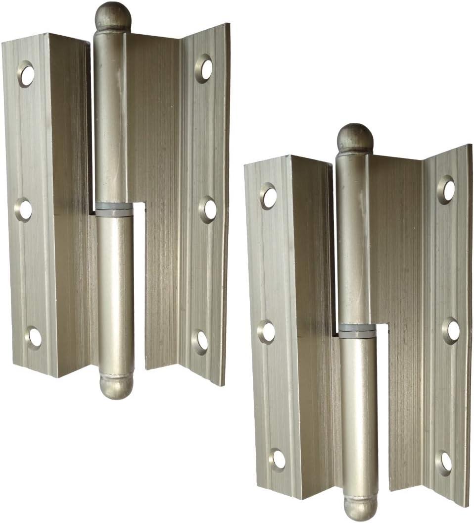 AERZETIX: 2x Bisagras de pernios para puertas ángulo 100х60х2.2mm aluminio (Derecha)