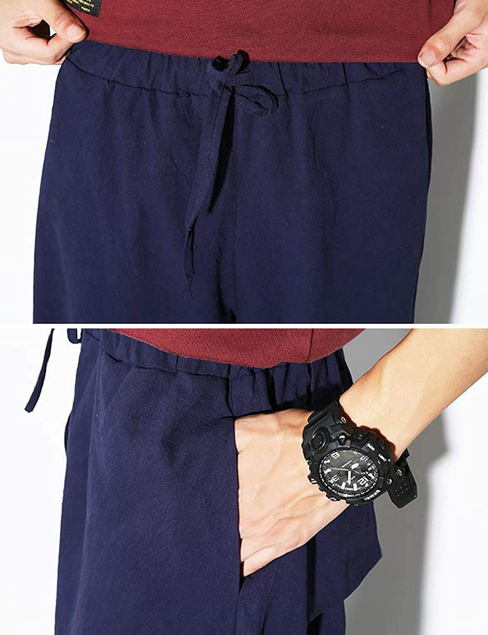 besbomig Linen Baggy Boho Hip Hop Trousers Mens Workout Leggings Casual Pants