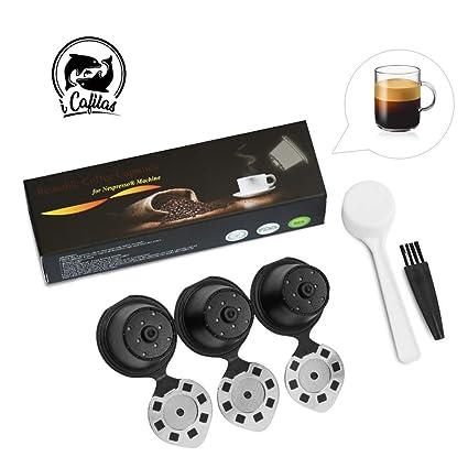 3 Nespresso Cápsulas Filtros Acero Inoxidable de Café Recargable Rellenables Reutilizable para Nespresso Cafeteras Nespresso 3 pcs con 1 cucharón de ...