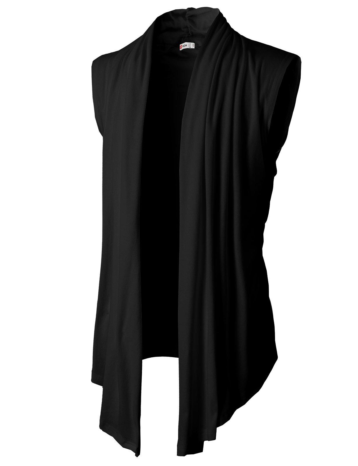 H2H Men's Shawl Collar Sleeveless Cardigan With No Button BLACK US M/Asia L (KMOCASL01)