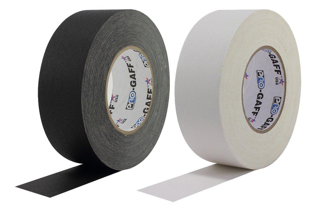2 Pack - 2'' Black/White Pro Gaffer's Tape - 55 yd Rolls