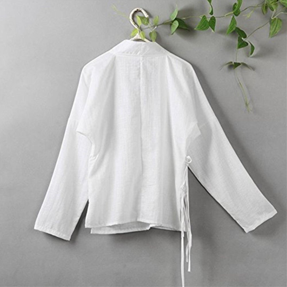 YOUMU Women Chinese Style Traditional Vintage Long Sleeves Cotton Linen Tops Blouse (White, S(US XS)) by YOUMU (Image #2)