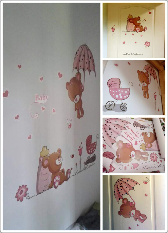 Wandtattoo BABY B/ÄR in rosa I I Wandbilder WandSticker4U/® 120x60 cm I Wandsticker Babyzimmer M/ädchen Sweet Dreams Tiere Aufkleber Junge Blumen I Wand Deko f/ür Kinderzimmer Kinder