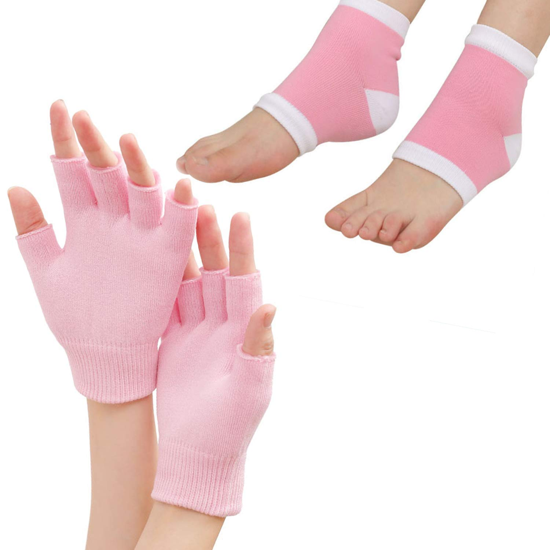 Moisturizing Fingerless Gloves and Heel Socks - Cold Therapy Gel Moisturizing Gloves and Heel Socks - Gel Spa for Moisturize Soften Repairing Dry Cracked Hands Feet Skin Care(Pink) : Beauty