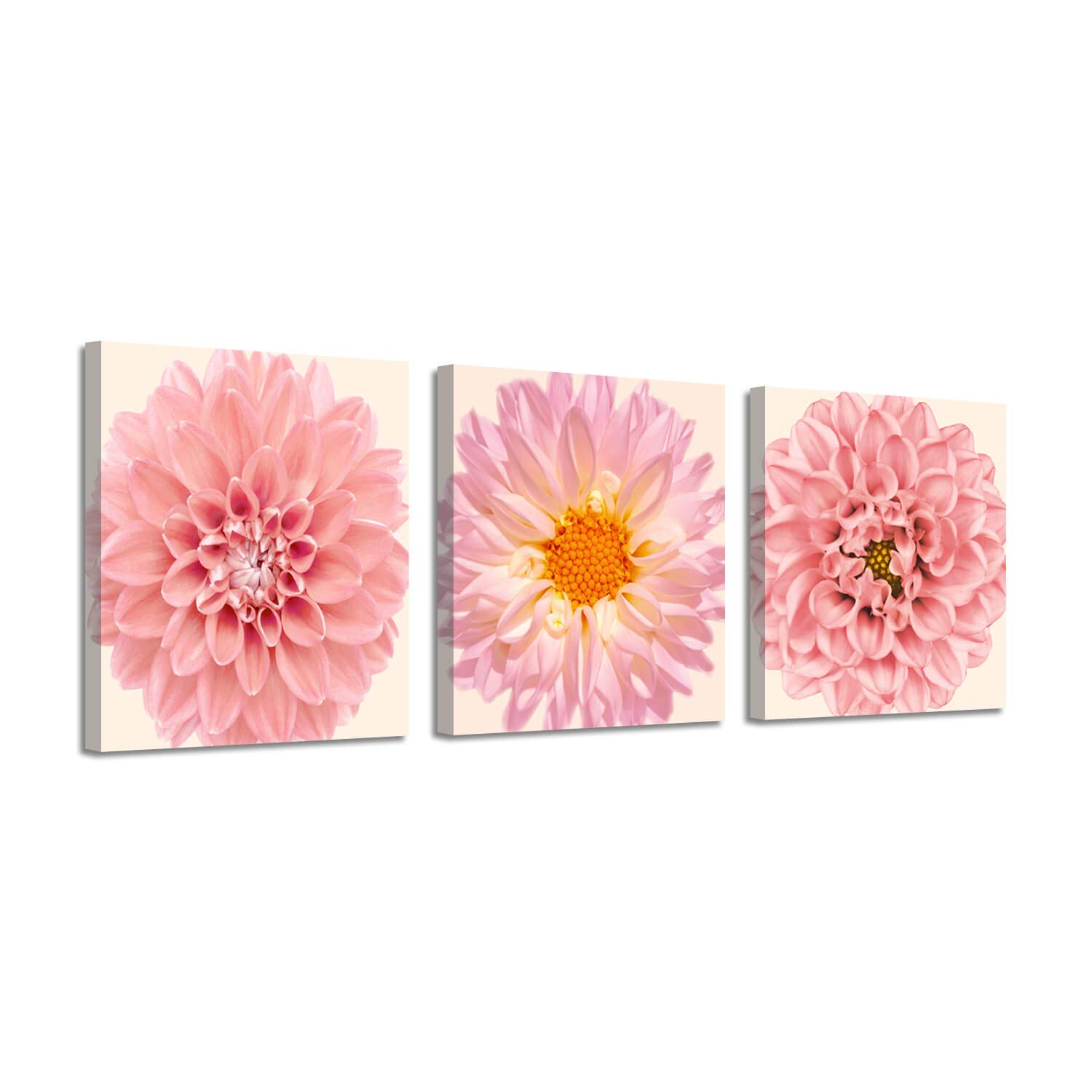 Flower Picture Floral Artwork Prints: Pink Gerbera Daisy Paintings on Canvas Set
