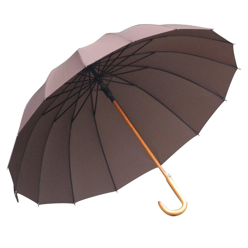 長い傘 16本骨 強風や豪雨にも十分な耐久性 曲がったハンドル付きのクラシックスタイル ユニセックス 雨傘 (色:ブラウン) B07G7PC1R8