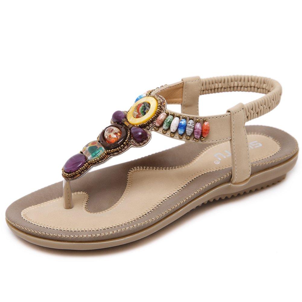 Woky Damen Sommer Sandalen mit Strass Perlen Bohemia Strand Schuhe Freizeit Flach Sandalette Grouml;szlig;e 34-44  44 EU|T-beige