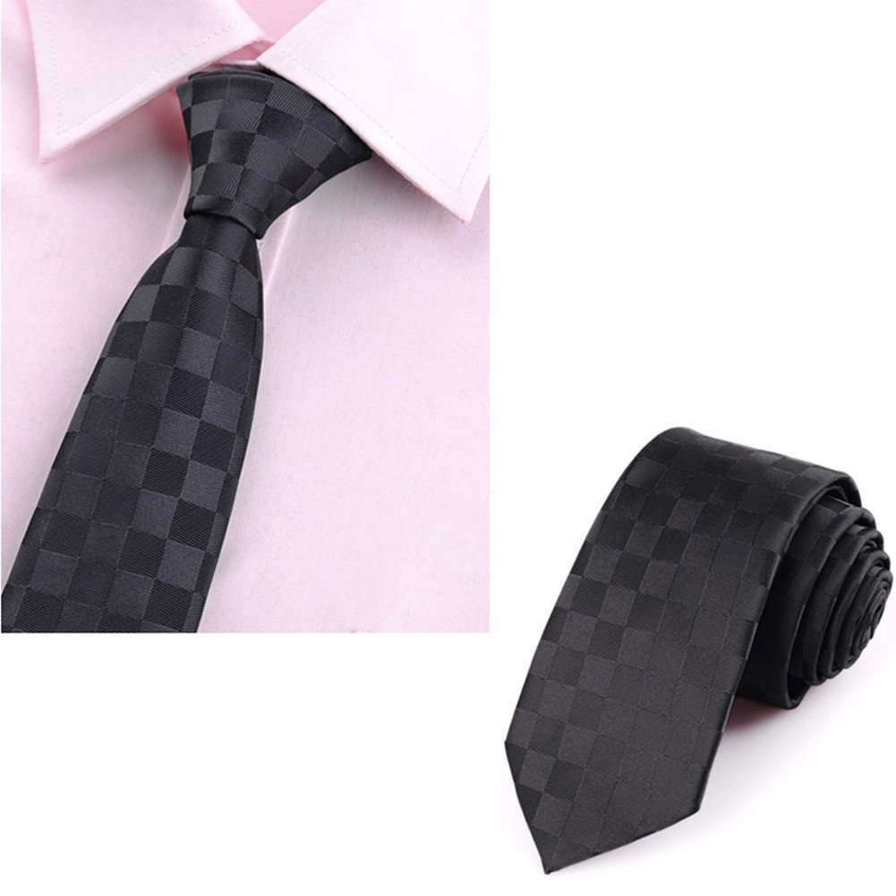 Mens Classic Plaid Necktie with Tie Clip by ZVIN (Image #3)