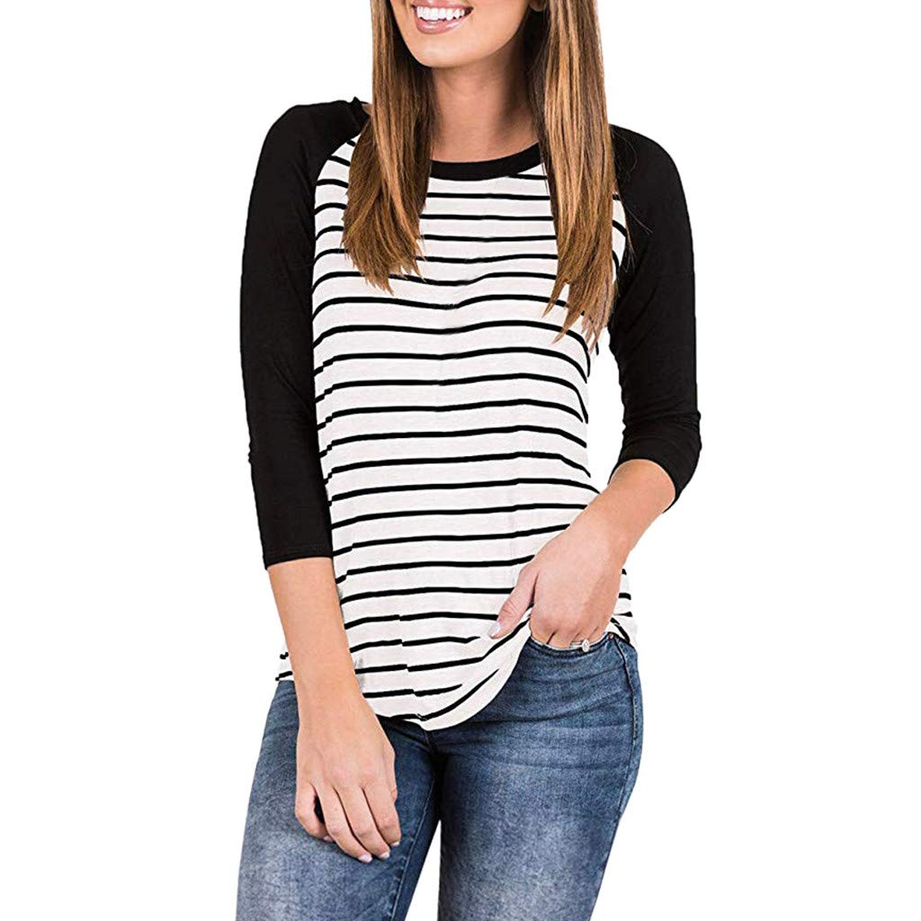 Willow S Women's Fashion Sport 3/4 Sleeve Raglan Striped Stitching Loose T-Shirts Tops Blouse Casual Pullover Black