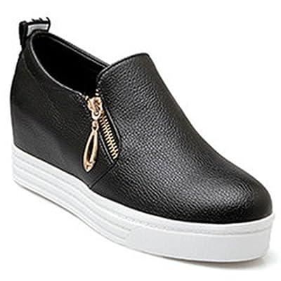 IDIFU Women's Casual Wedge Platform Sneakers Hidden Mid Heel Slip On Loafers With Zipper
