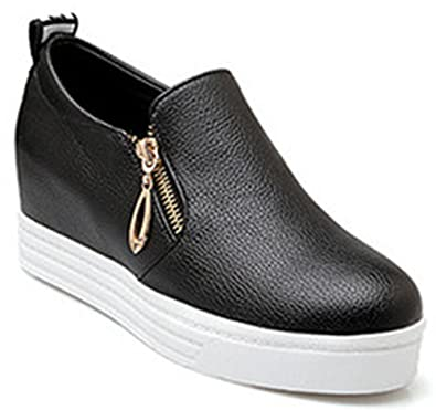 e184e4b8d9d IDIFU Women s Casual Wedge Platform Sneakers Hidden Mid Heel Slip On  Loafers with Zipper Black 4