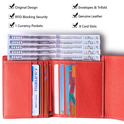 Red Mini Blocking Pocket Wallet Women's Leather Rfid Bifold Crosshatch Small Ladies Purse 1BBPx8q