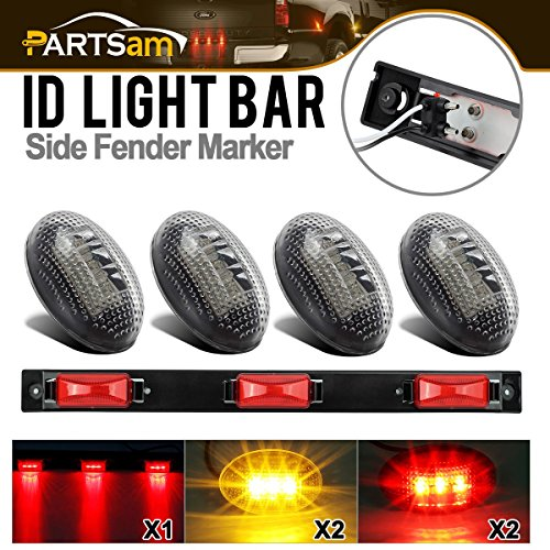 Partsam Ford Side Marker kit ( Red 3-Lamp 9 LED Clearance ID Light Bar + 2 Amber 2 Red 3 LED Dually Bed Side Fender Marker Light Clear Lens Front - F-150 Front Ford Bed