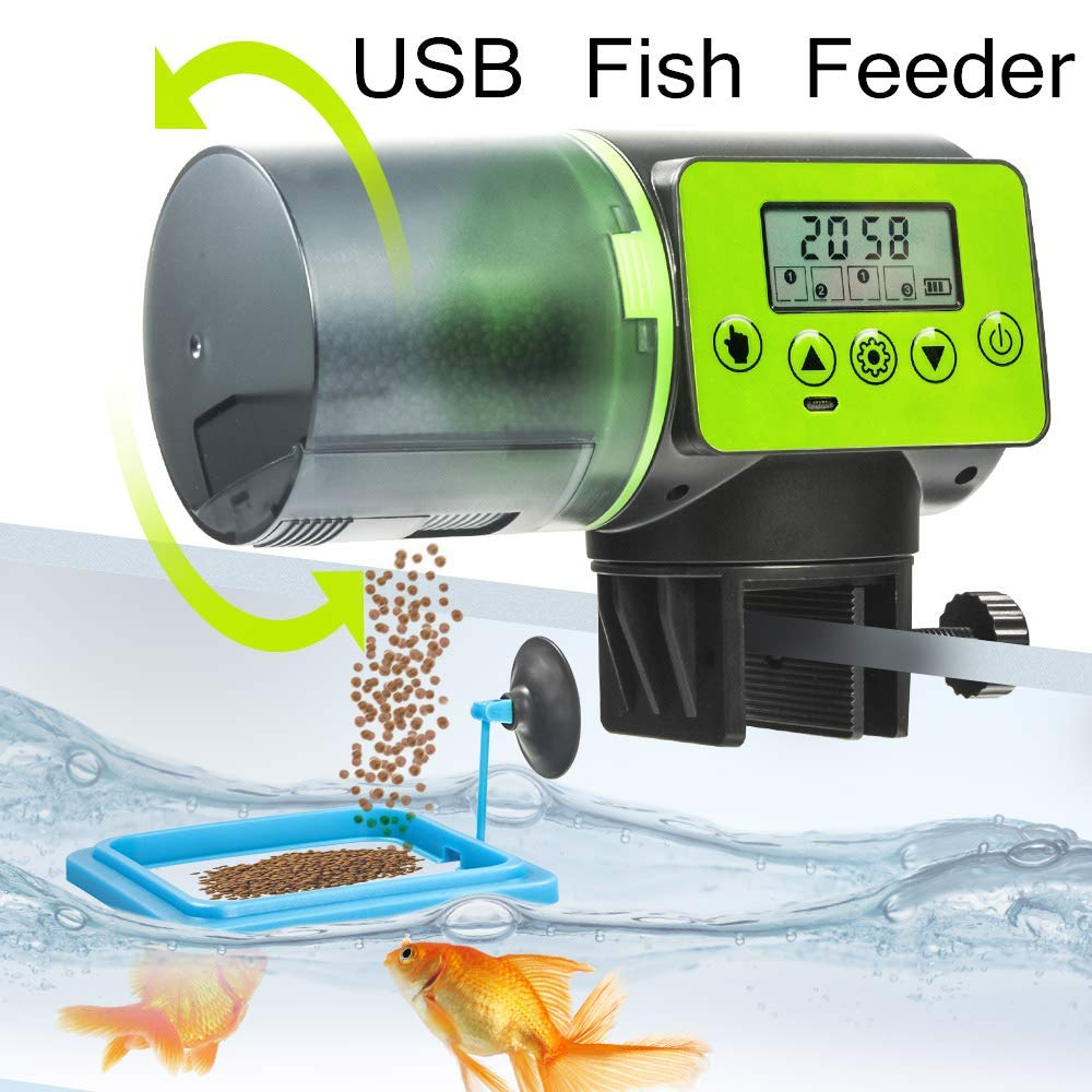 WISCOON Fish Feeder, Auto Fish Feeder, Fish Food Vacation Feeder Timer Moisture-Proof 200ml Feeders for Aquarium and…