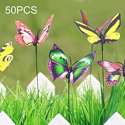 YAZHI-MILA Gardening Tool Supplies 50PCS Colorful Butterflies Garden Ornament Flowerpot Plant Decor Butterfly Stick Garden Decoration Simulation Butterfly Random Color Delivery: Home & Kitchen
