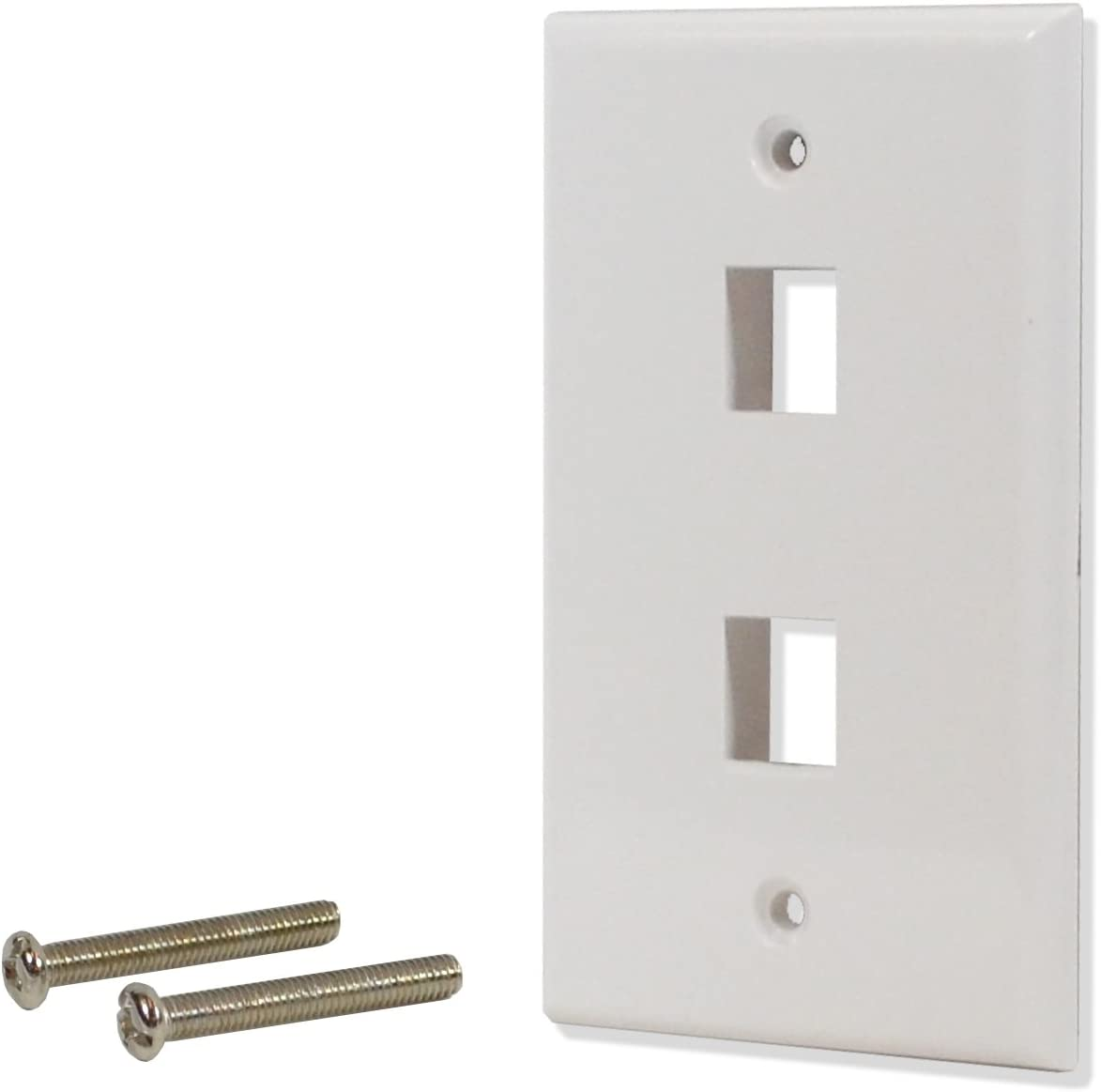 LOT of 2 Wall Plate 3 Hole Port Jack Keystone Audio Video Wallplate White