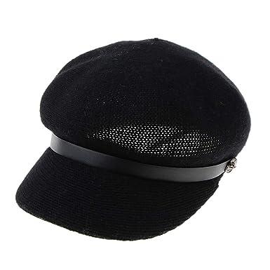 F Fityle Boina Francesa de Mujer Gorro Berets Octogonal de Lana Mezclada  Sombrero de Vendedor de Periódicos Casual - Negro c2908d8f324