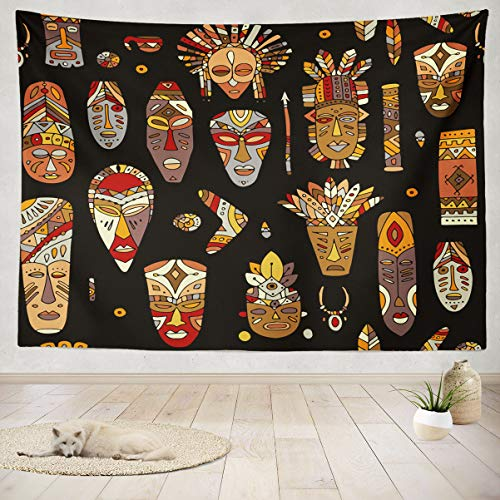 ASOCO Tapestry Wall Hanging Tribal Mask Ethnic Sketch African Art Mask Tribal Island Hawaii Africa Wall Tapestry for Bedroom Living Room Tablecloth Dorm 60X80 Inches