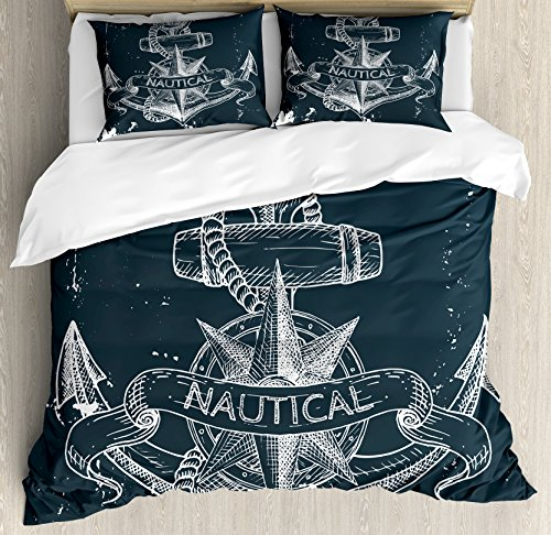 Ambesonne Marine Duvet Cover Set Nautical Knot Compass
