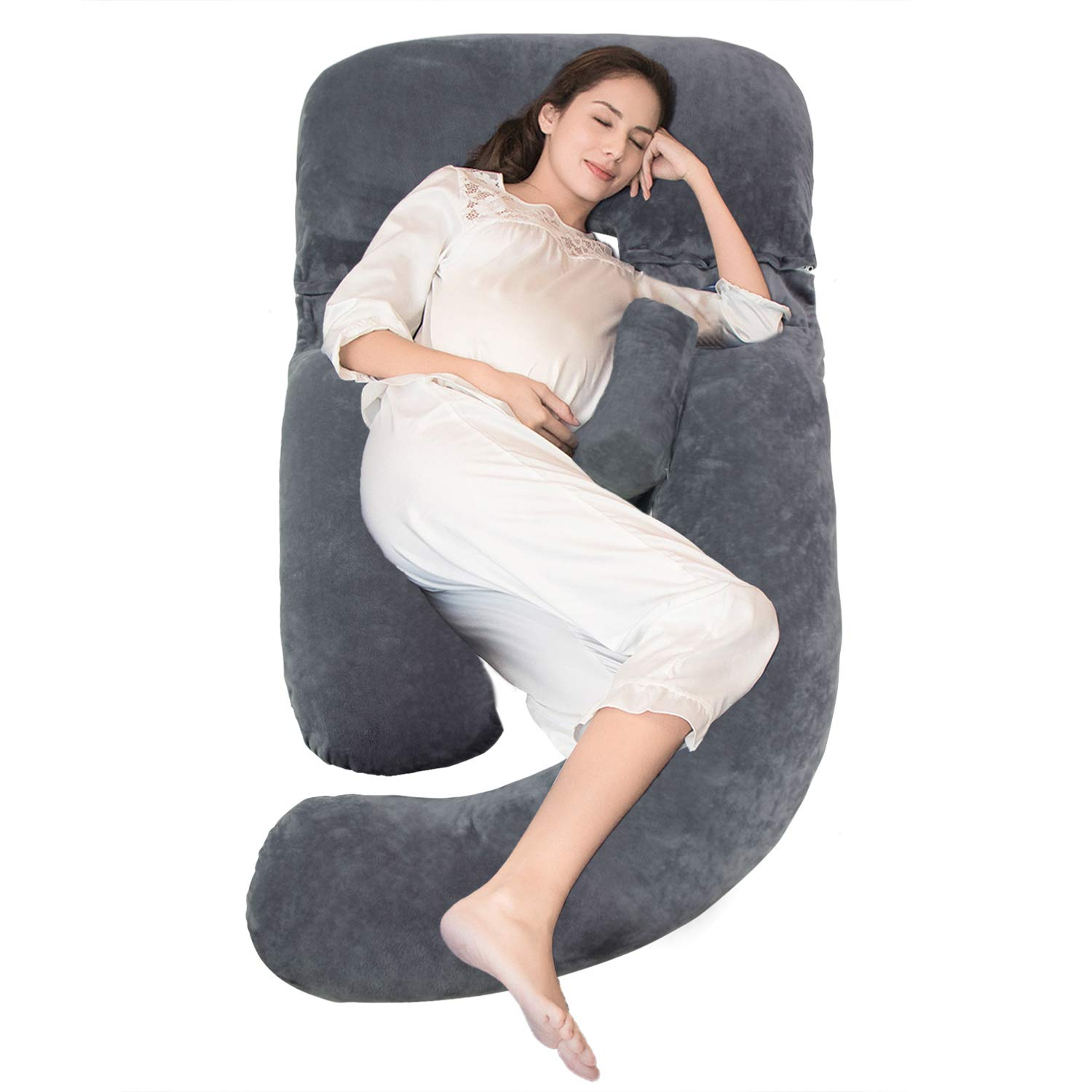 Onory Full Body Pregnancy Pillow U-Shaped Maternity Pillow Removable Velvet Cover for Sleeping with Nursing Baby Design Support for Back Belly Hips Legs (Gray, 60'')