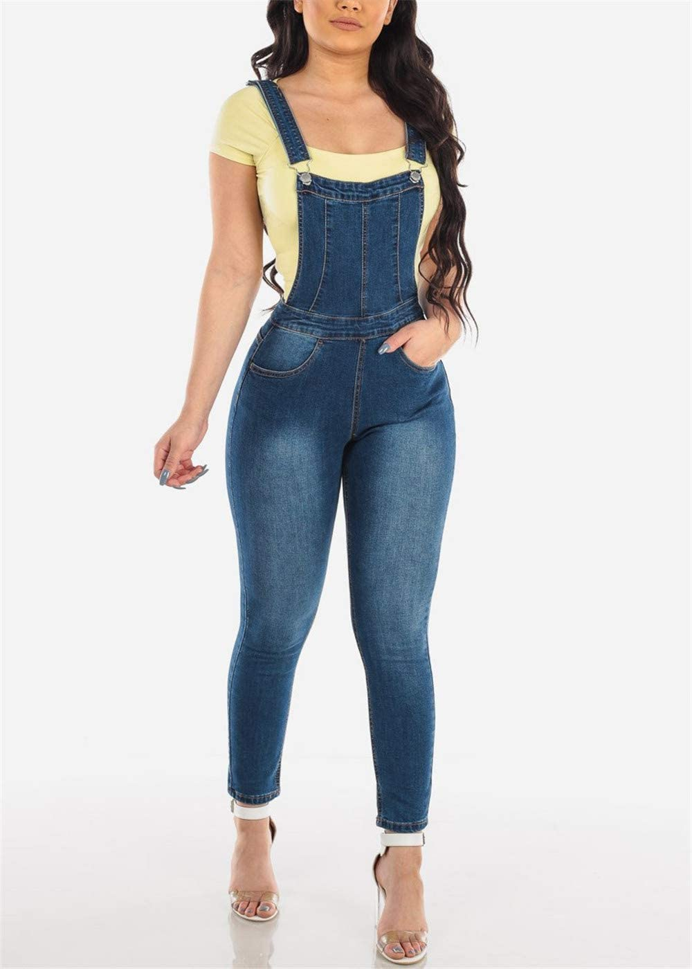 S,Blanc Morbuy Casual /Ét/é Trou Denim sans Manches Jumpsuit Poches Pantalon Playsuit Barboteuses Salopette Femme en Jeans Combinaison Courte