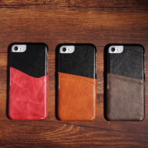 Mobile protection Para el cuero genuino del cuero del zurriago del iPhone 7 que hace juego la caja de la contraportada con la ranura para tarjeta ( Color : Wind red ) Wind red