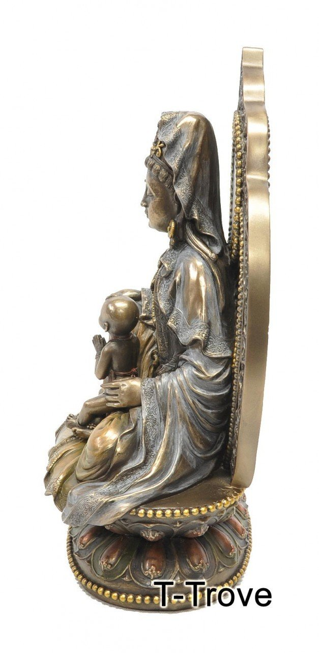 T-Trove Cold Cast Bronze Goddess of Fertility Guan Yin Kuan Yin Statue