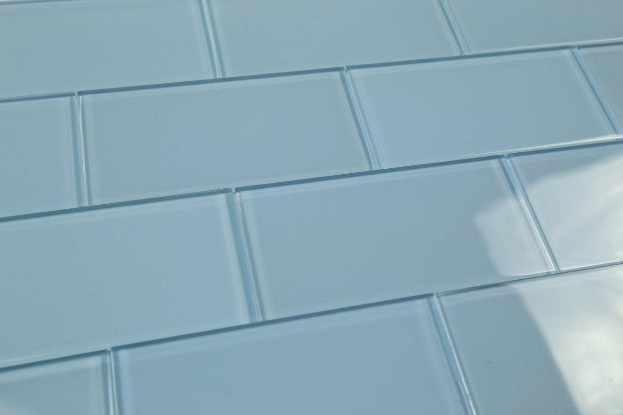 Medium Haven Blue Subway Glass Tile Hand Crafted and Custom Made. Perfect for kitchens and bathrooms, 3x12 (10 Sq Ft Box)