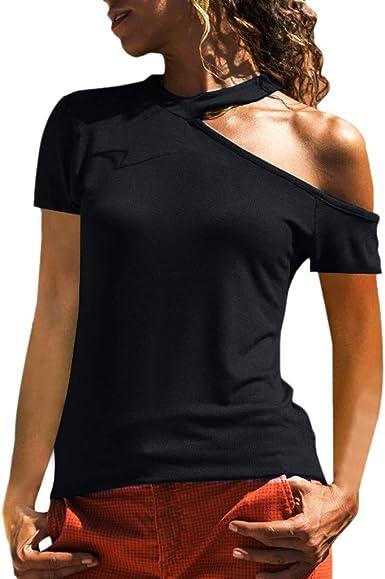 Asimétrica Camiseta de Mujer, Honestyi Blusa de Color sólido Verano T-Shirt de Hombro sin Tirantes Camisa de La Moda Blusa de Manga Corta Sudadera con Capucha Chaleco Camisola Abrigo: Amazon.es: Ropa y