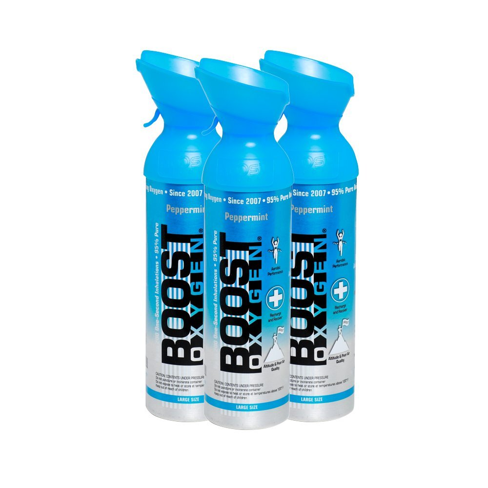 95% Pure Oxygen by Boost Oxygen - Portable Canister of Supplemental Oxygen - Increases Endurance, Recovery and Performance - 10 Liter Canisters - 3 Pack (Peppermint)