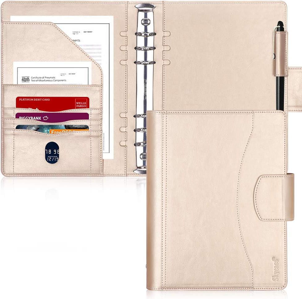 A5 Black Folder Portfolio Real Leather Organiser notepad Christmas Gift