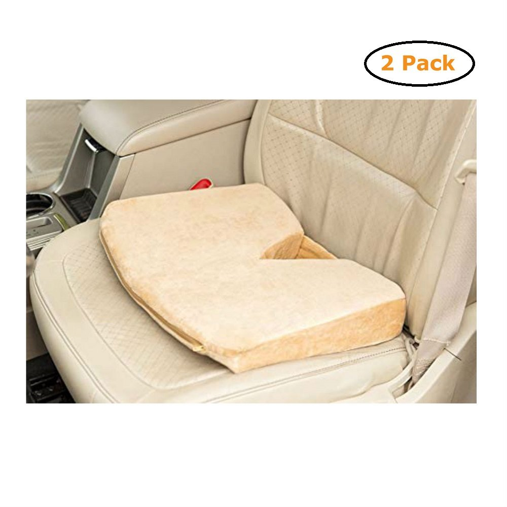 Coccyx Wedge Velour Cover Memory Foam Tan - Size -18X13X3 - Pack of 2