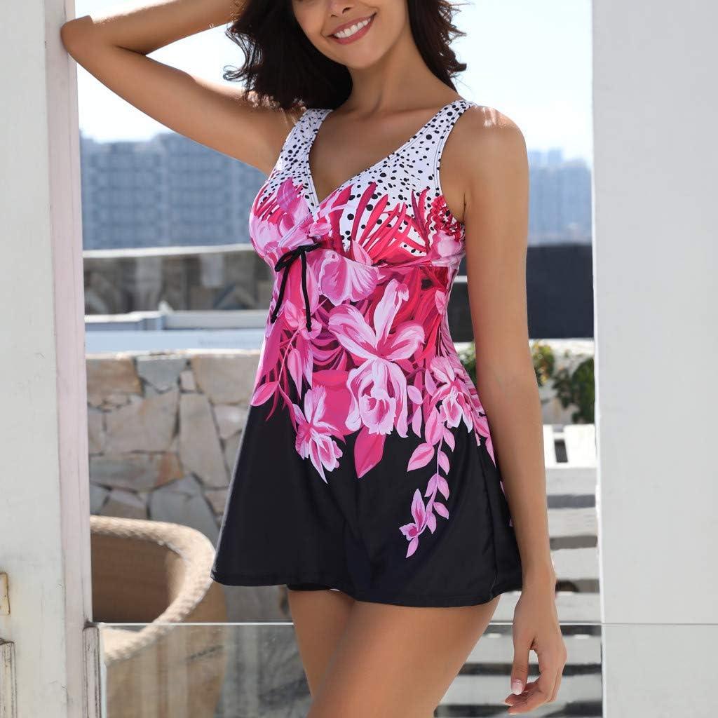 Lelili Women Plus Size Swimsuit Set Fashion Printed Loose Top Swimwear Boxer Shorts Casual Beachwear