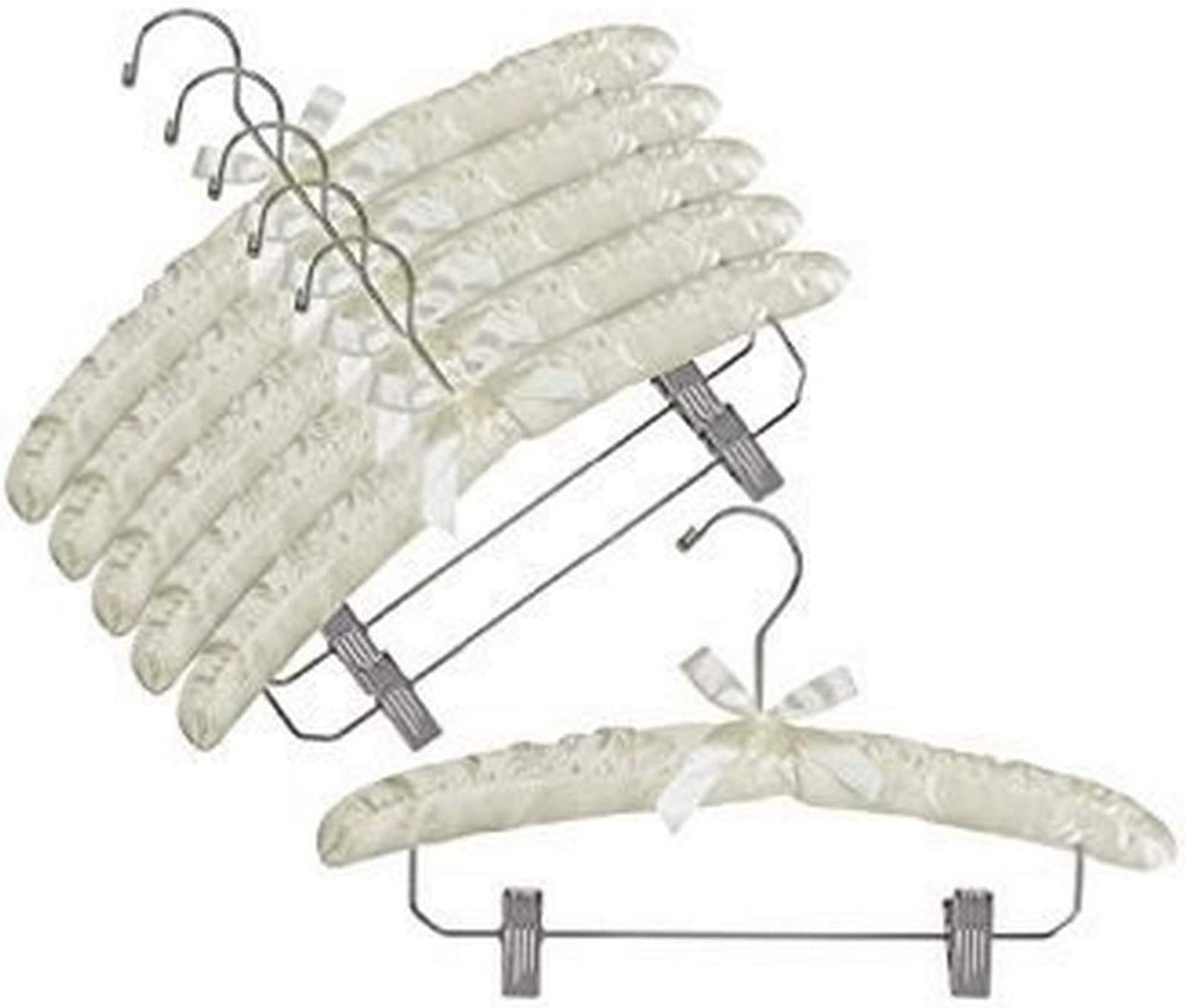 Amazon Com Only Hangers Ivory Satin Padded Hangers W Chrome Hook Clips Pack Of 6 Home Kitchen
