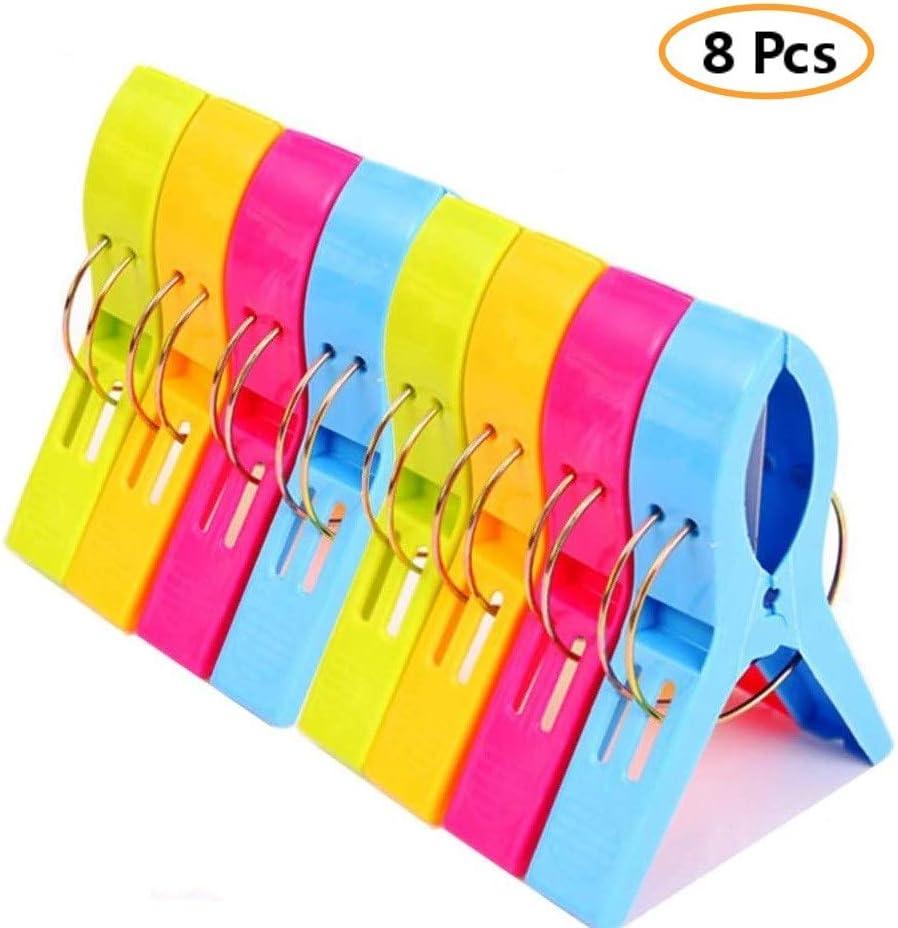 etc. tapis Voarge Lot de 8 pinces /à serviette de plage en plastique 4 couleurs Pinces pour v/êtements de grande taille Pinces pour linge serviette de plage serviette de bain