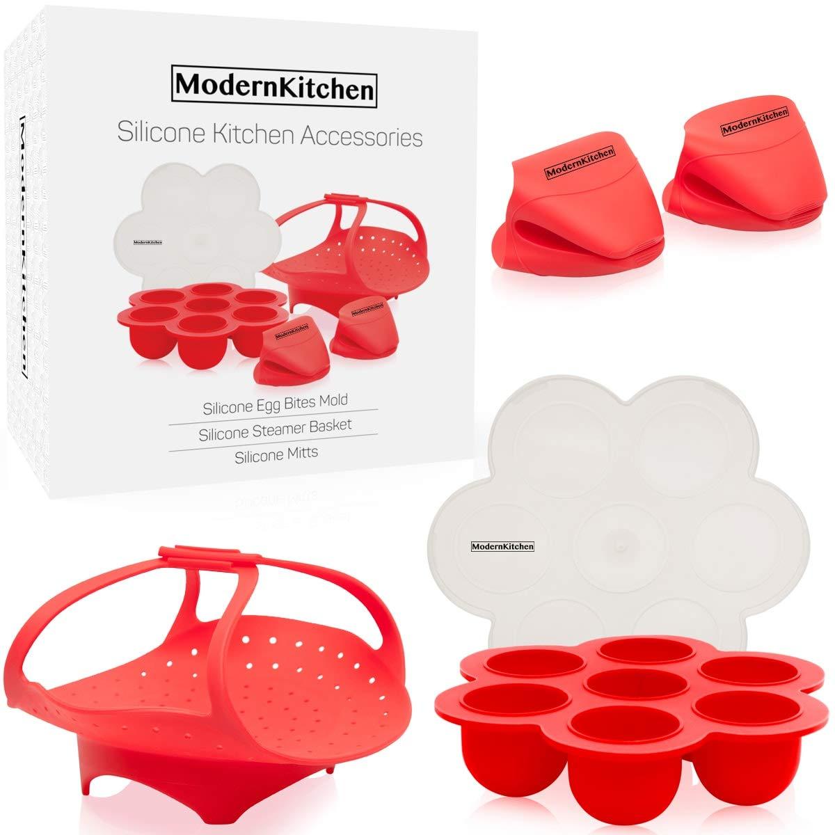 Instant Pot Silicone Accessories Kit: Egg Bites Mold, Vegetable Steamer Basket Rack, Pot Holder Oven Mitts, Pressure Cooker Heat Resistant Dishwasher Safe, Starter Cooking Set, Fits 5,6,8 qt