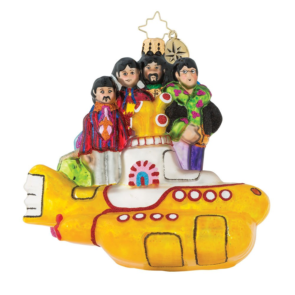 Christopher Radko All Together Now Yellow Submarine Beatles Glass Ornament
