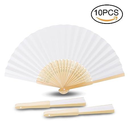 Handfächer, Samione Weisse Chinesische Leeres Papier Fans DIY Papierhand Folding Fan Hochzeit Faltfächer Kirche Kinder Gesche