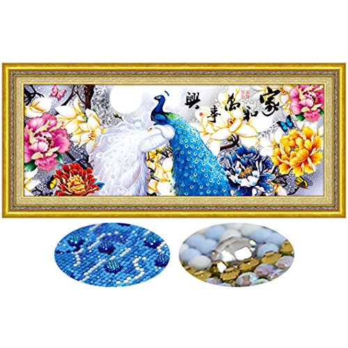 Mazixun Special Shaped 3D DIY Diamond Embroidery Full 5D Diamond Painting Peacock Diamonds Mosaic Cross Stitch Animal Needlework Christmas Decor Gift 51x120cm by Mazixun