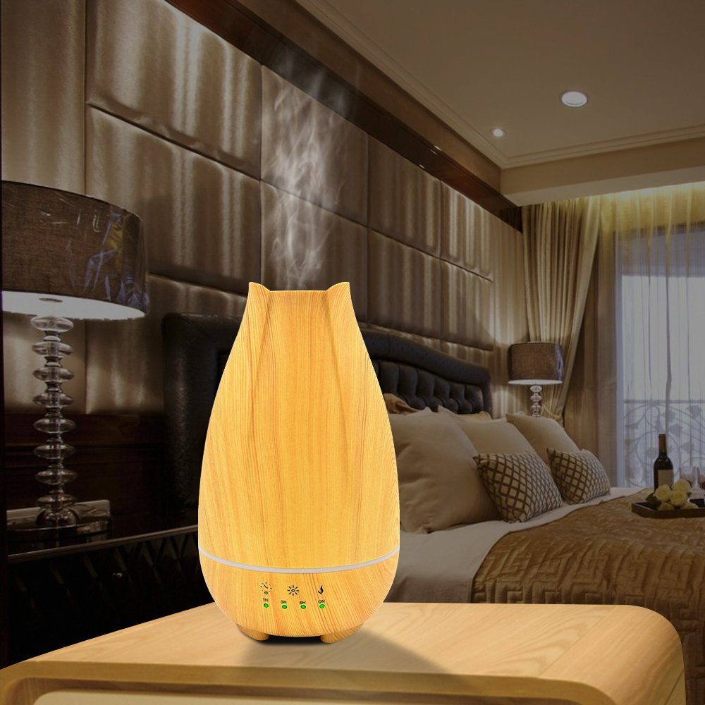 500ml Cool Mist Humidifier,Wood Grain Ultrasonic Aromatherapy Diffuser with Timer,Touch Button Control,Waterless Auto Shut-Off,7 Color LED Lights by Sweet sex (Image #8)
