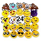 O'Hill 24 Pack Emoji Plush Pillows Mini Keychain Decorations for Kids Birthday Party, Home Decoration, Wall Decor and Party Favor