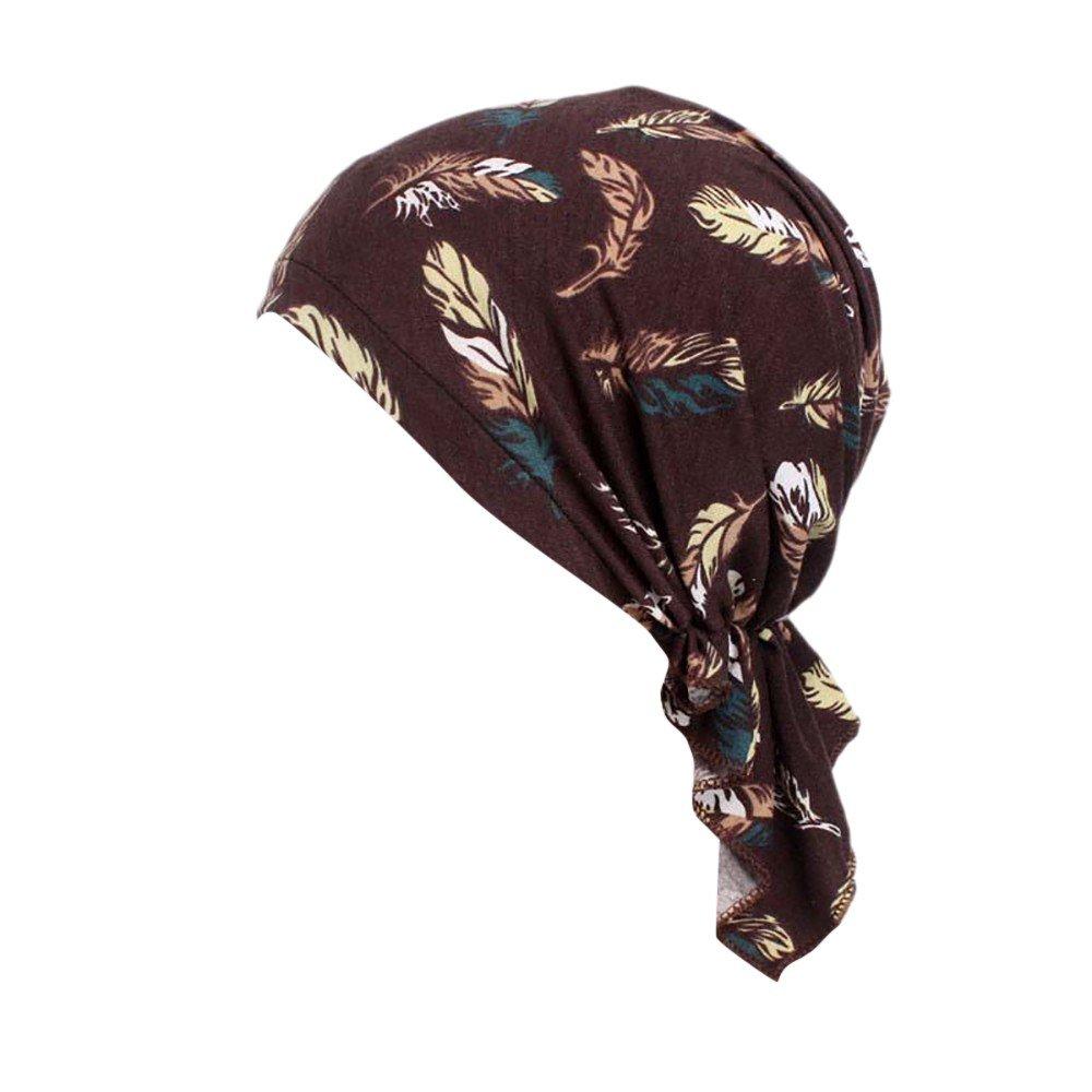 TWGONE Turbans for Women India Muslim Elastic Wrap Print Cotton Hat Head Scarf (One Size,D)