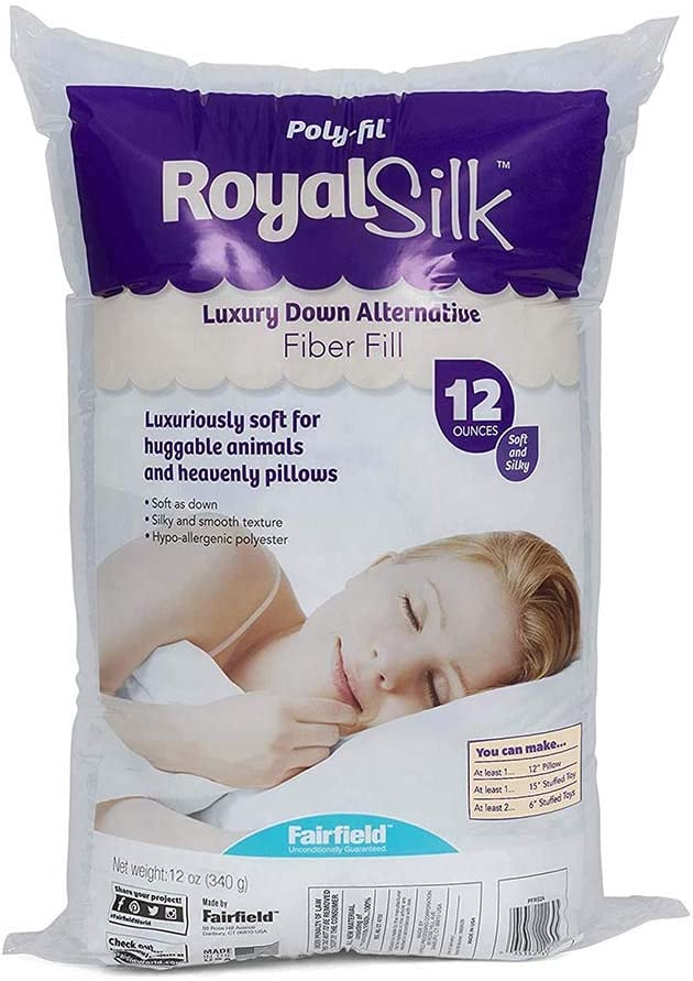 Pack of 2 White Fairfield PFRS12 Poly-Fil Royal Silk Fiber Fill Bag 12 oz