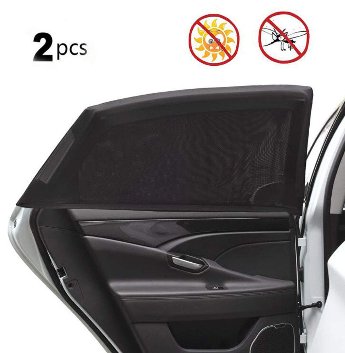 SunShadePro Anti Rayos UV y Polvo Par de parasoles para Coche para ni/ños Transpirables protecci/ón contra el Sol para Las ventanillas Laterales