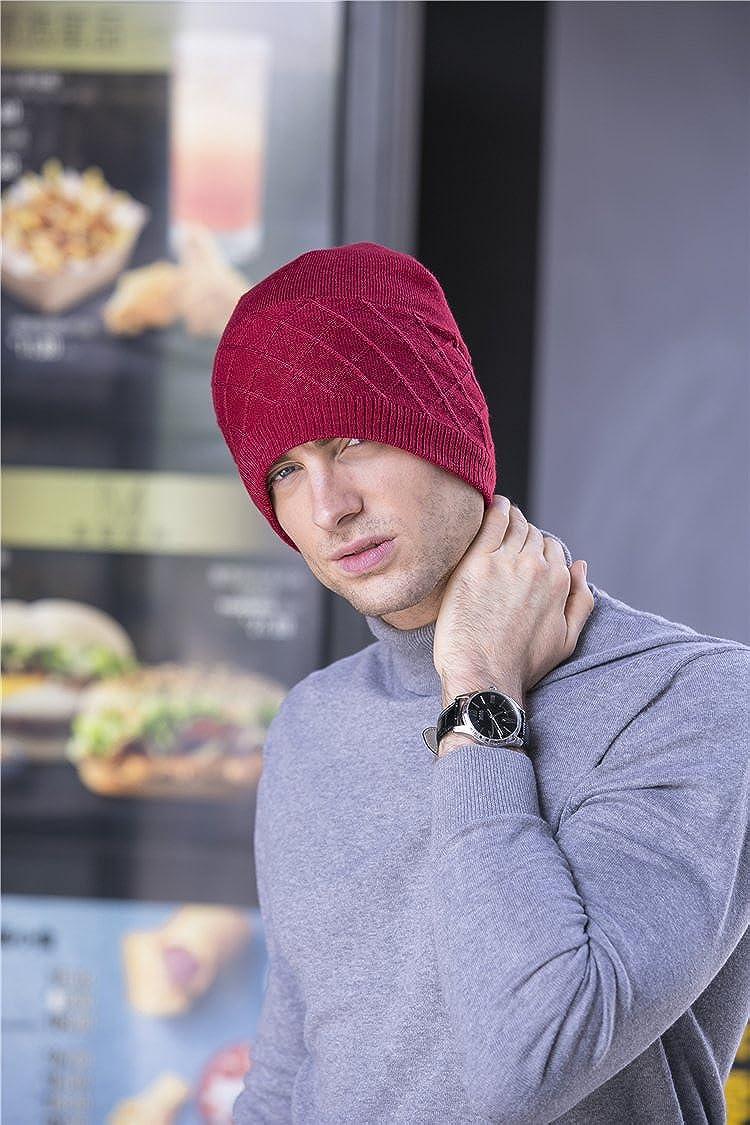 BaronHong Warm Red Beanie Ribbed Knit Skull Cap Hat For Men Women