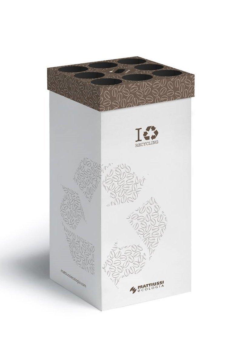 5 CONTENITORI CART-ONE caffè: contenitore in cartone ecocompatibile per la raccolta dei bicchieri da caffè e dei bastoncini, completo di 10 sacchi Mattiussi Ecologia S.p.A.