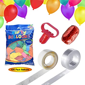 Inflatable 100-Pack Color Latex Balloon are perfect for birthday parties 12 inches rainbow party birthday party bridal shower balloon arches and balloon post holders unicorn party baby shower